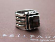 SILPADA Smoky Quartz Statement Wide Ribbed Band Ring R1041 Size 6.5