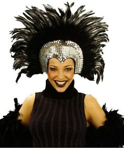 Silver Moulin Rouge Cabaret Mardi Gras Showgirl Burlesque Headdress Fancy Dress