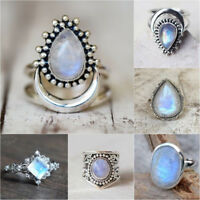 925 Silver Filled Moonstone Gems Rings Mens Fashion Engagement Wedding Party