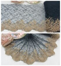 """8""""*1Y Embroidered Floral Tulle Lace Trim~Deep Teal Green+Gold Tan~Harmounious~"""