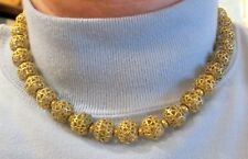 Vintage Monet 7 inch Gold Clad Heart Filigree Round Strand Bead Necklace (29
