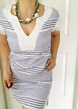 PURE COTTON BY HARIS COTTON WOMENS DRESS STRIPED BLUE WHITE LINEN KNEE LNG SZ S
