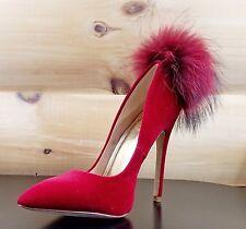 """Liliana Maroon Wine Velvet Single Sole Pom Pom Fur Pointy Toe Pump 5"""" Heel Shoe"""