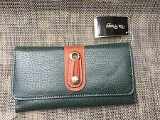 NWT VIA PIAGGI hunter Green Pebbled Leather w/brown Leather Trim Trifold Wallet