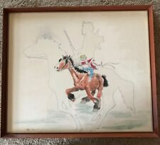 Framed Watercolor Cartoon of a Goofy Character on a Galloping Horse Signed Kroll