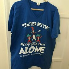 Blue TShirt Teacher Besties, Cat In Hat, Thing One and Two Dr Seuss, NEW, Sz XL
