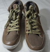 Guess Mens MG Justice Leather Sneaker Shoe Tan Brown Size 12 M