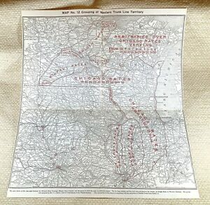 1916 Antique Railway Map The American Railroad System Chicago Illinois Iowa Rate