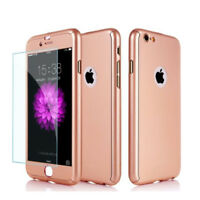 Hybrid 360° Full Hard Case Cover + Tempered Glass For Apple iPhone Smart Phones