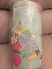 "Pottery Barn Kids Butterfly Beach Towel Light Green Pink 32x64"" UPF 50+"