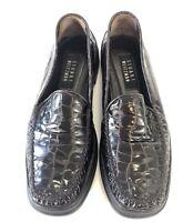 Stuart Weitzman Womens Loafer Shoes Dark Brown Croc Print Slip On Size 8