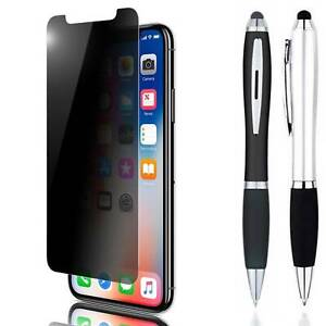 Stylus +Tempered Glass Privacy Anti Spy Screen Protector For iPhone X XS XR Max