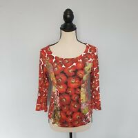 Damen  EVA & CLAUDI  Rot Langarm Top Shirt  Blouse Gr. S