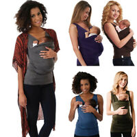 Women Maternity Solid Kangaroo Pocket Sleeveless Top Nursing Vest T Shirt Blouse