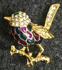 Attwood & Sawyer Unsigned Harlequin Pave Rhinestone Enamel Bird Figural Goldtone