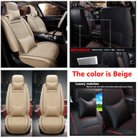 PU leather Soft Car Front Seat Cover Cushion Neck Lumbar Pillow for 5-seats Car