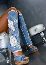 Womens Lace HIgh Heel Wedge Stilettos Open Toe Denim Roma Knee High Boots Shoes