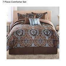 New 7 Piece King Size Comforter Set With Bedskirt Modern Deco Bedding Bedspread