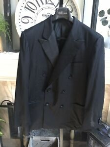 KITON men's black tuxedo jacket - double breasted - EU 54R / US 44R