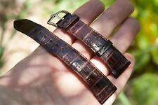 Vtg Rolex 20mm Crocodile Brown Leather Strap & 16mm Acierinox Steel Buckle Swiss