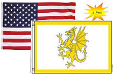 3x5 3'x5' Wholesale Set (2 Pack) Usa American & Welsh Dragon Wales Flag Banner