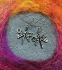 Beautiful Boho Dragonfly Earrings Antique Silver