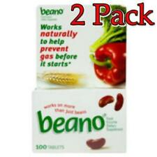 2 Pack - Beano Food Enzyme Dietary Supplement, Tablets (200 Tablets Total)