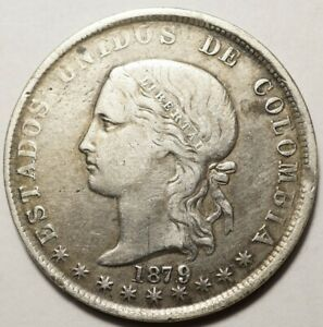 COLOMBIE : ASSEZ RARE 5 DECIMOS ARGENT 1879/4