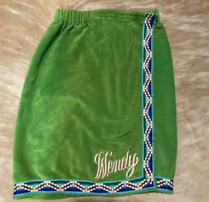 """Vtg 70s Embroidered """"WENDY"""" Green Terry Cloth Monogram Bath Spa Towel Body Wrap"""