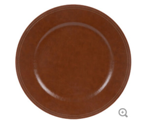 Farmhouse Red Brown Faux Leather Charger Plate Stitching Dinner Table Holiday