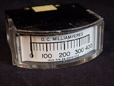 """VINTAGE ISCO D.C Milliampere meter guage CURVED face 1.75"""" x 1.5"""" x .75"""" RARE"""
