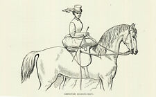 LADY RIDING SIDESADDLE WITH IMPROVED LEAING REIN ANTIQUE HORSE PRINT 1873