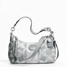 Coach Signature Stripe Demi Shoulder Bag Hand Bag Crossbody Purse F19435 Gray