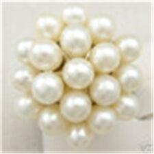Cadeaux de Noël,charmant,blanc Perles d'eau douce ,forme de fleur,Bague  57#