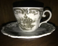 Seltmann Weidman Bovaria west germany Black And White Castle Tea Cup And Saucer