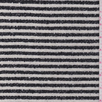 Black/White Stripe Boucle Suiting, Fabric By The Yard