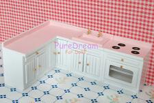 Dollhouse Miniature White Furniture Kitchen Cabinet Set Basin Stove Roaster 4pcs
