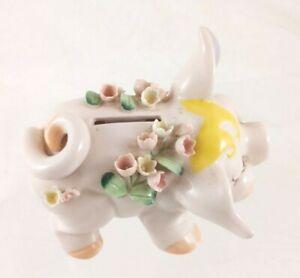 Lefton China Pink Pig Piggy Bank - Broken Flowers, Missing Plug