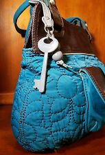 Fossil Key Per Quilted Dark Turquoise Front Pouch Leather/Canvas Brown Trim Bag