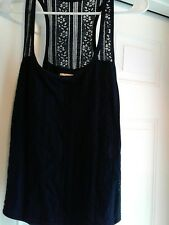 Hollister Womens Navy Lace Floral Detail Racerback Tank Size MEDIUM