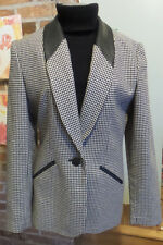 Vtg Blazer jacket hunt coat look  Black & White Houndstooth Leather Trim Size 6