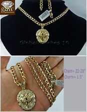 """Lion Head Men 10k Gold Miami Cuban Link 24"""" Inch Chain with  Charm Pendant Real"""