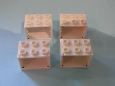 Lego 4 coffres blancs 10247 10233 3939 4440 / 4 white containers w/ hollow studs