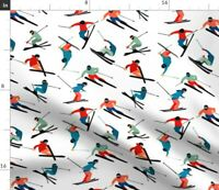 Alpine Mountain Ski Skier Skiing Fabric Printed by Spoonflower BTY