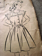 Vintage 40s Girls  SEARS Sewing Pattern 2 tone Dress Fairloom 10 plus catalog ad