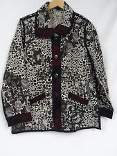 Women's Fashion Reversible Tapestry Jacket Black White Red Button up 2 in 1