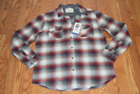 NWT Mens WEATHERPROOF Vintage LS Gray Red Plaid Flannel Shirt Size L