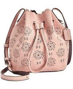 Coach 25193 Suede Mini Bucket Bag 16 with Cut Out Tea Rose - Peony