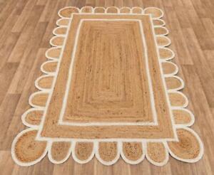 4x6 feet square scalloped jute rug white border area jute rug vintage area rugs