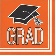 Graduation School Spirit Orange Lunch Napkins 36 per Pack